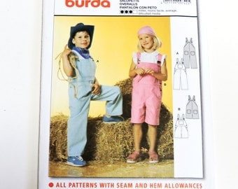 Burda 9742 Pattern, Childrens Overalls, Boys Girls Shortalls, Original New Uncut Pattern, Western Farm Overall Pattern 4 Kids itsyourcountry