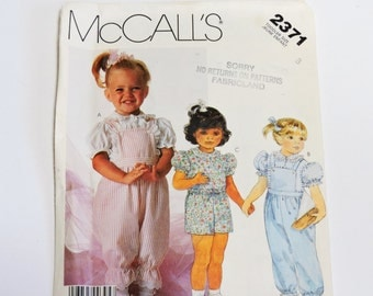 McCalls 2371 Pattern, Toddler Size 3 Overalls, Blouse, Shorts, Original New Uncut Pattern itsyourcountry