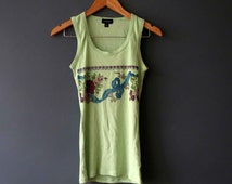 Spearmint Green Floral Garland Singlet Repurposed Printed DTG Small