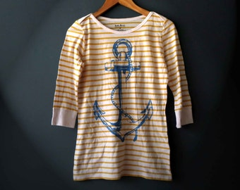 Repurposed Anchor Nautical Print T shirt Yellow White Blue Med Lucky Brand