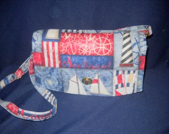 "Maritime, Nautical Themed, ""Glenda"" Purse, Convertible Clutch"