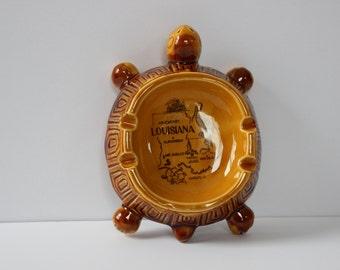 Vintage Louisiana Souvenir Turtle Ashtray