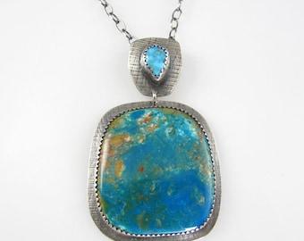 Multi-Color Gemstone Necklace - Blue - Gemstone Necklace - Chrysocolla Turquoise  JAN-1