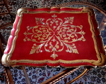 ITALIAN FLORENTINE Tray Wood Brilliant Red and Gold Serving Decorative Tray Made In Italy Exquisite Mid Century Home Decor