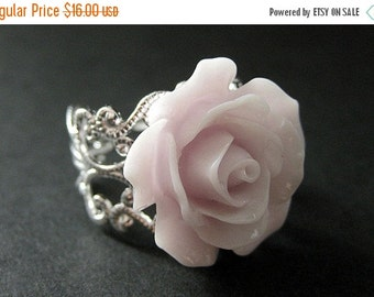 BACK to SCHOOL SALE Pale Purple Rose Ring. Purple Flower Ring. Filigree Ring. Adjustable Ring. Flower Jewelry. Handmade Jewelry.