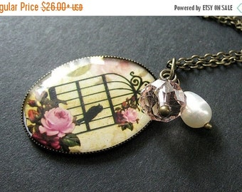BACK to SCHOOL SALE Birdcage Necklace in Pink and Bronze with Crystal Charm and Fresh Water Pearl. Handmade Jewelry.