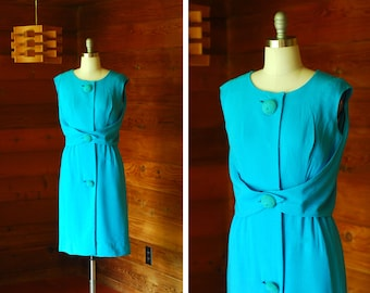 vintage 1950s dress / 50s Parnes Feinstein linen turquoise dress / size medium
