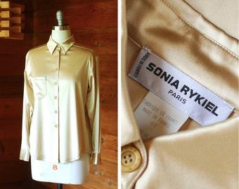 vintage Sonia Rykiel champagne silk satin blouse / size medium