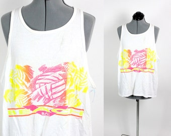 SALE Vintage Retro White Neon Volley Ball Summer Tank Top Large