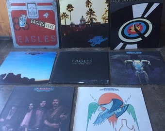 Vintage 1970s / 1980s The Eagles Vinyl Records Lot of 8 Albums Hotel California On the Border Desperado One of Those Nights The Long Run