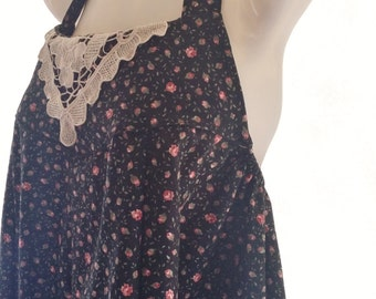 Ladies Black Rosebud Halter Neck Sundress with Vintage Lace Detail
