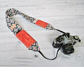 Camera Strap for DSLR and SLR Cameras | Kilim Print Strap with Coral Lens Cap Pockets