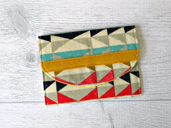 Memory Card Case  - Card Case -Gift Card Case - Credit Card Holder - Coin Purse - Southwest Print and Mustard