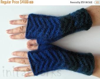 Fingerless Gloves Dark Blue Arm Warmers Knit Soft