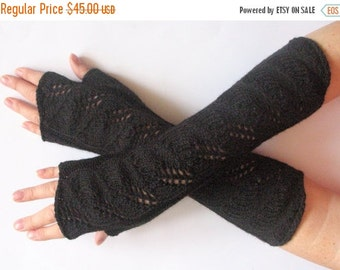 "Long Fingerless Gloves Mittens Black 13"" Arm Warmers, Acrylic"