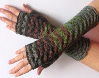 Fingerless Gloves Black Gray Brown Green Moss wrist warmers