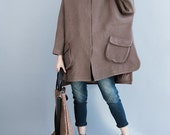 Loose bat sleeve Winter wool overcoats asymmetric wool Clothing dark green Overcoat/ brown Overcoat
