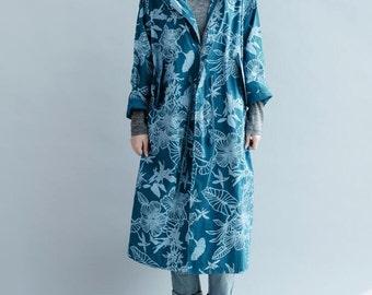 Women Hooded Loose fitting autumn Windbreaker Coat Drawstring waist long blue large size Windbreaker