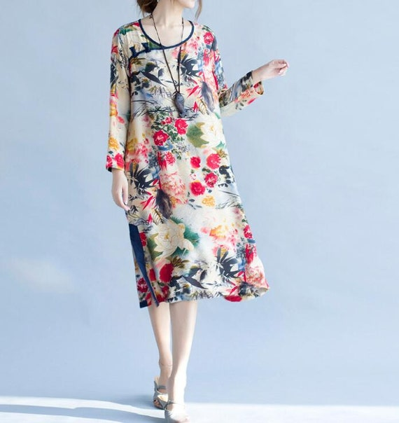 Women Loose Fitting spring dress cotton and linen large size dress