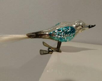 Vintage Christmas Clip On Bird Glass Ornament Silver Blue