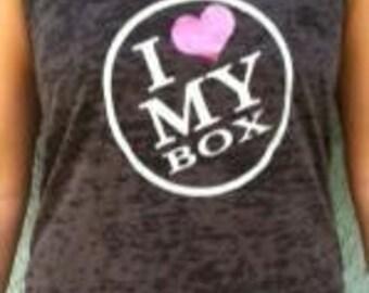 SoRock's I Heart My Box Women's Burnout Tank