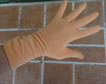 vintage women's gloves tangerine peach size 7 retro accessories formal