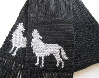 Howling Wolf Scarf. Charcoal black, long, knit mens scarf with gray wolves. Animal scarf