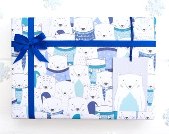 Arctic Fox Christmas Wrapping Paper - Festive Gift Wrap - Christmas Gift wrap - Childrens wrapping paper