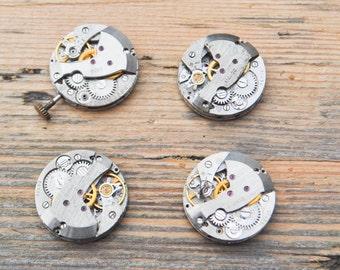 0.7 inch Set of 4 vintage wrist watch movements.