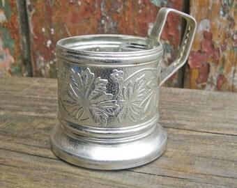 USSR Vintage Soviet Aluminum Tea Glass Holder  PODSTAKANNIK