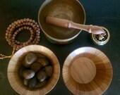 Mindful Meditation (Wooden Bowl & Natural Earth Toned Rock Set) - Earth Energy, Meditation, Mindfulness