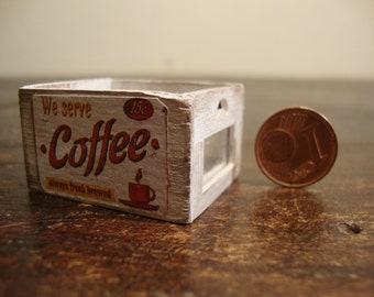 dollhouse miniatures. crate  in walnut wood, with panoramic window