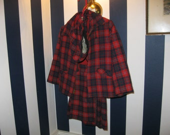 Three piece young girl's red wool plaid outfit by Mary Sachs, size 4