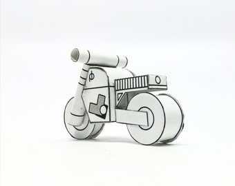 M2 POSTCARD white/black/grey/green - PAPERCRAFT model! Perfect Holiday Gift for a Moto Lover!