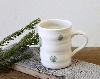 Handmade Porcelain Mug, White Coffee Mug, Handmade Pottery Mug, Ceramic Coffee Mug