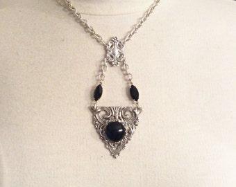 Black Art Deco style necklace Victorian jewelry Art Nouveau vintage style necklace Gothic style Rocker necklace vintage style jewelry