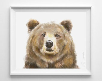 Grizzly Bear Watercolor Painting