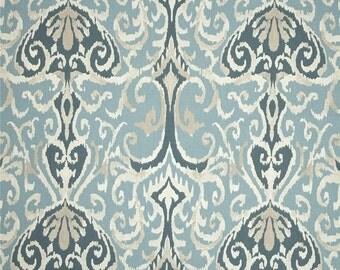 "Two 96"" x 50""  Custom   Curtain Panels -   Ikat Damask Spa Aqua Grey Teal"