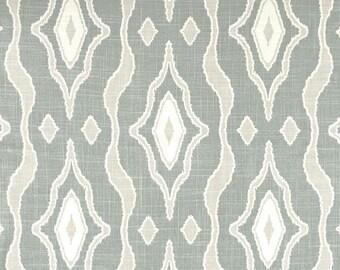 "Two 96"" x 50""  Custom Curtain Panels - Rod Pocket Panels - Ikat Wood - Spa Green/Grey"