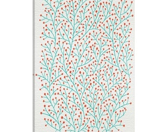 iCanvas Berry Branches Red Turquoise Artprint Gallery Wrapped Canvas Art Print by Cat Coquillette