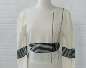 Sweater - Long Sleeve Top Cream / Ivory with Black Stripes Bateau Neck Size Sall