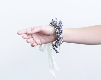 Lavender with Babys Breath Bracelet - Real Dried Flowers Accessory / Wrist Corsage / Rustic Bridal or Bridesmaid Jewelry
