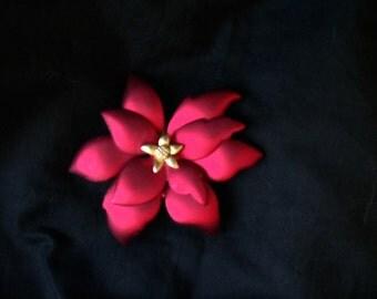 Stunning vintage Tona brooch poinsettia luminous red satin finish jewelry bargain