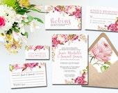 Pink and Purple Hydrangea Floral Wedding Invitation Suite
