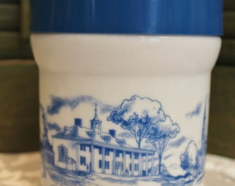 Vintage Milk Glass Cigar Jar - Americana Blue and White Canister - Milk Glass Grease Jar - Drippings Jar - Boston Scene