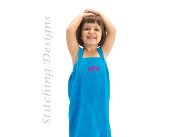 Personalized Girl's Towel wrap, Spa Wrap, Flower girl wrap, Beach coverup, Swimsuit cover up, Cotton Terry Velour, S & M, 4 colors available