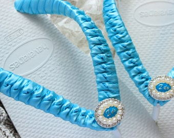 Soon to be Mrs flip flops, nautical wedding shoes, Turquoise wedding slippers, I Do flip flops, beach wedding flip flops, bridal slippers
