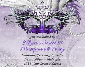 Masquerade Ball Invitation, Purple Sweet 16 Party, Masquerade Mask Invite