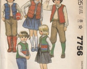 1981 sewing pattern McCall's 7756 Children's vest, skirt, pants, knickers, applique size 2