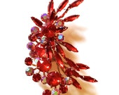 Red Rhinestone Spray Brooch Vintage Mad Men Fashion Jewelry